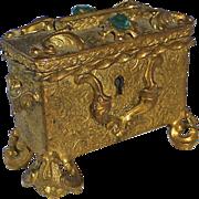 SOLD Ornate Gilt Brass Treasure Chest Jewelled Stamp Box