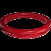 Faceted RED Bakelite Bracelet Pair