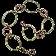 Rare 14k Rose & Green Gold Link Chain Bracelet
