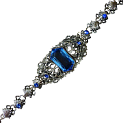 Blue Jewel Silver Tone Filigree Bracelet