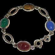 Vintage GF Egyptian Revival Bracelet Gemstone Scarabs c1950s