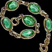 Faceted Oval Green Glass Link Bracelet