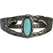 Native American Bell Trading Co Sterling Cuff Bracelet Turquoise