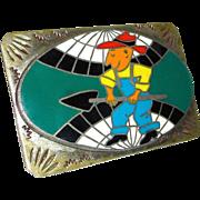 Enamel Farmer Nickel Silver B-K Belt Buckle