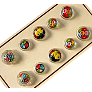 Czech Reverse Painted Underglass 10 Button Card