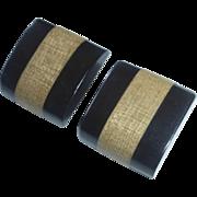 Black Bakelite & Wood Laminated Button Pair