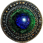 Rare Victorian Peacock Eye Foil Glass Button Brass & Cut Steel