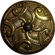 Ornate Brass Button w Cut Steel Center