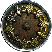 Victorian Metal Button Brass~Steel~Wood