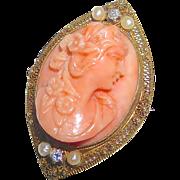 Edwardian Coral Cameo 14k Filigree Framed Pin/Pendant Seed Pearls Diamonds