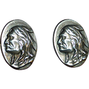 Art Deco Sterling Cufflinks Native American Indian Image