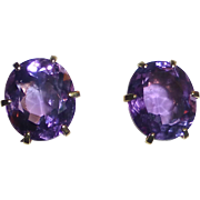 14k Large Faceted Amethyst Post Earrings
