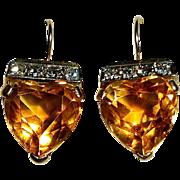 14k Madeira Citrine Hearts & Diamonds Pierced Earrings