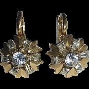 18k Art Deco Pierced Earrings Yellow & White Gold