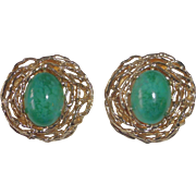 Panetta Gold Tone Birds Nest Clip Earrings Faux Jade Cabochons