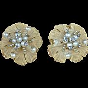 Frosted Lucite Flower Earrings w Rhinestones & Faux Pearls