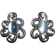 Sterling Swirl Earrings Moonstone Glass Cabochons