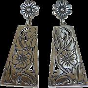 Mexican Sterling Long Pierced Floral Drop Earrings