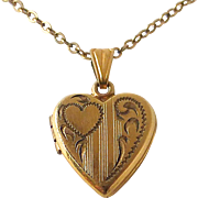 SALE Gold Filled Heart Baby Locket & Chain c1950s
