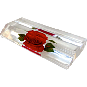 Reverse Carved Lucite Rose Business Card Holder or Photo Display