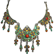 Moroccan Sterling Enamel & Coral Ornate Bib Necklace