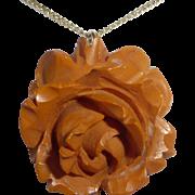 Bakelite Carved Rose Pendant Gold Filled Chain