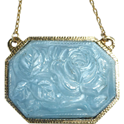 Gold Tone Pendant Necklace Molded Blue Art Glass Rose