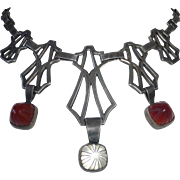 Arts & Crafts/Art Deco Sterling Necklace Carved Quartz & Carnelian