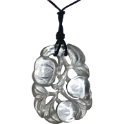 SOLD Art Deco Chinese Carved Quartz Rock Crystal Fruit Pendant
