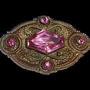 Edwardian Bronze Pin w Pink Crystals