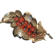 Antique 10k Rose Gold Top Leaf Pin w Coral