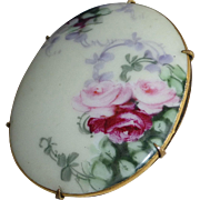 Victorian Large Hand Painted Porcelain Floral Pin