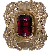 Art Nouveau Brass Sash Ornament Pin Red Jewel