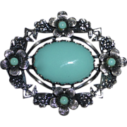 Silver Metal Faux Turquoise Costume Brooch