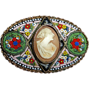 Ornate Italian Glass Mosaic Pin w Shell Cameo