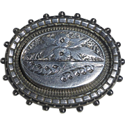 Antique English Sterling Aesthetic Engraved Floral Pin