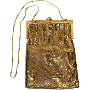 Whiting Davis Gold Mesh Long Jewelled Shoulder Purse