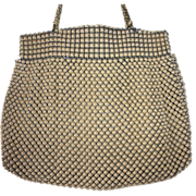 Whiting Davis 'Alumesh' Line Purse Beige Enamel Metal Mesh