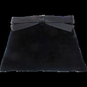 Black Velvet Clutch Purse w Satin Bow