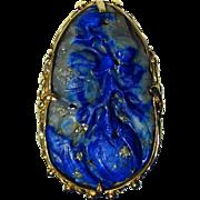 Rare Arts & Crafts 14k Gold Ring Carve Lapis