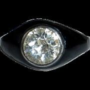 Rare Sterling Silver Mourning Ring Black Enamel & Paste