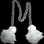 Sterling Silver Baby Storks Bib Clips