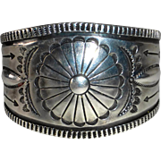 Native American Sterling Mens Heavy Stamped Bracelet