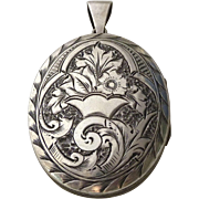Antique Engraved Sterling Silver Aesthetic Locket