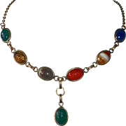 Egyptian Revival GF Semi Precious Stone Scarab Beetle Necklace