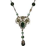 Antique Brass Long Necklace w Peridot Glass Jewels & Beads