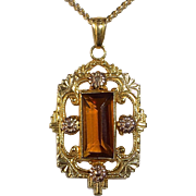 Art Deco Gold Filled Lavaliere Necklace Citrine Glass Jewel