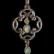 Edwardian 9k Opal & Pearl Lavaliere 14k Chain