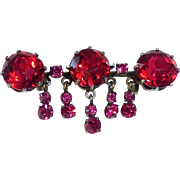 Victorian Sterling Pin Red Paste Stones