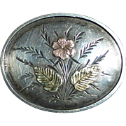 Antique Sterling Aesthetic Pin w Rose & Green Gold Accents